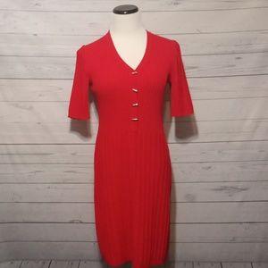 St. John sz P (2) red v-neck ribbed dress